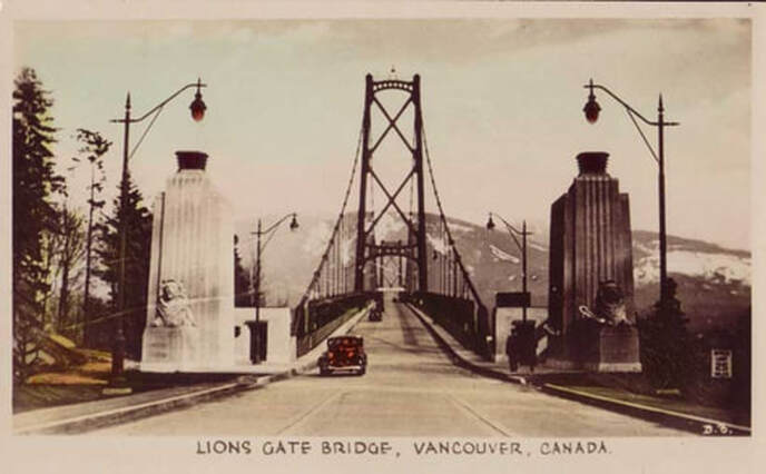 Vintge photograph of the Lions Gate Bridge in Vancouver, Canada.